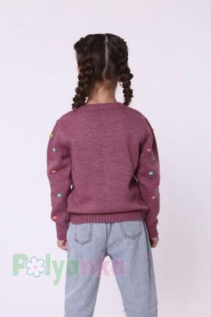 baby first Детский свитер для девочки вязаный бордовый - Картинка 5