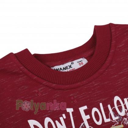 """Wanex Свитшот для мальчика """"Don`t follow me"""" бордовый с начёсом - Картинка 4"""