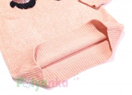 Breeze girls & boys Свитер для девочки вязаный розовый с ресницами  - Картинка 4