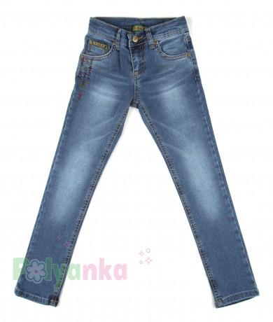 Wanex Джинсы для девочки синие классика зауженные - Картинка 1