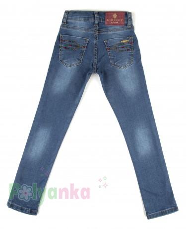 Wanex Джинсы для девочки синие классика зауженные - Картинка 4