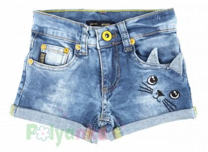 Wanex Шорты для девочки джинсовые с кошкой - Картинка 1