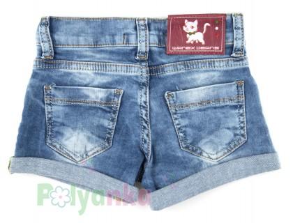 Wanex Шорты для девочки джинсовые с кошкой - Картинка 5
