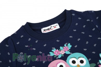 Wanex Свитшот для девочки синий и совами - Картинка 3