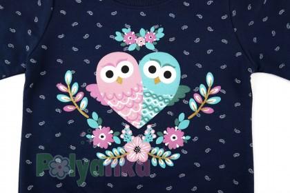 Wanex Свитшот для девочки синий и совами - Картинка 4