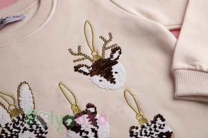 """Wanex Свитшот для девочки с начёсом """"Новогодние игрушки"""" молочный - Картинка 2"""