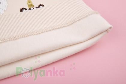 """Wanex Свитшот для девочки с начёсом """"Новогодние игрушки"""" молочный - Картинка 5"""