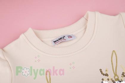 """Wanex Свитшот для девочки с начёсом """"Новогодние игрушки"""" молочный - Картинка 6"""
