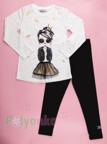 Wanex Костюм для девочки белый лонгслив с принтом и чёрные леггинсы - Картинка 1
