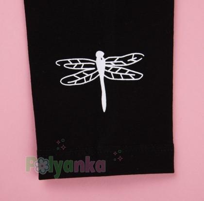 Wanex Костюм для девочки белый лонгслив с принтом и чёрные леггинсы - Картинка 6