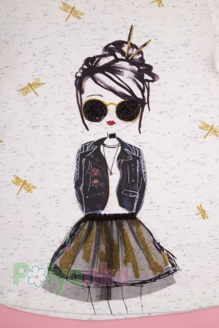 Wanex Костюм для девочки белый лонгслив с принтом и чёрные леггинсы - Картинка 7