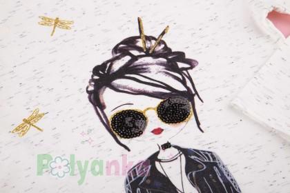 Wanex Костюм для девочки белый лонгслив с принтом и чёрные леггинсы - Картинка 8