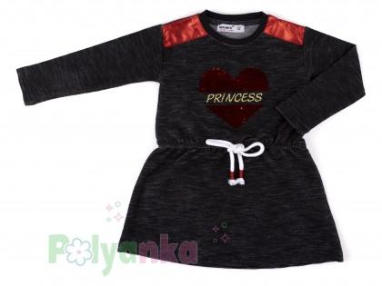 Wanex Платье с длинным рукавом для девочки черное с сердцем и пайетками-перевёртышами - Картинка 2