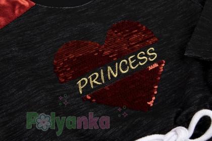 Wanex Платье с длинным рукавом для девочки черное с сердцем и пайетками-перевёртышами - Картинка 3