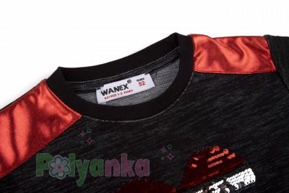 Wanex Платье с длинным рукавом для девочки черное с сердцем и пайетками-перевёртышами - Картинка 7
