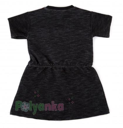 Wanex Платье с длинным рукавом для девочки черное с сердцем и пайетками-перевёртышами - Картинка 8
