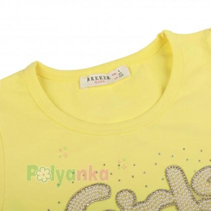 Breeze girls & boys Платье для девочки жёлтое с бусинами и синей фатиновой юбкой - Картинка 2