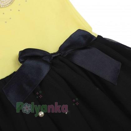 Breeze girls & boys Платье для девочки жёлтое с бусинами и синей фатиновой юбкой - Картинка 4