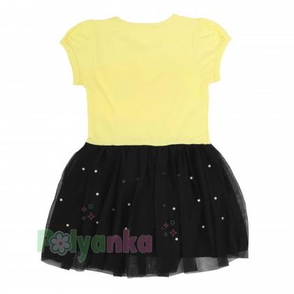 Breeze girls & boys Платье для девочки жёлтое с бусинами и синей фатиновой юбкой - Картинка 5