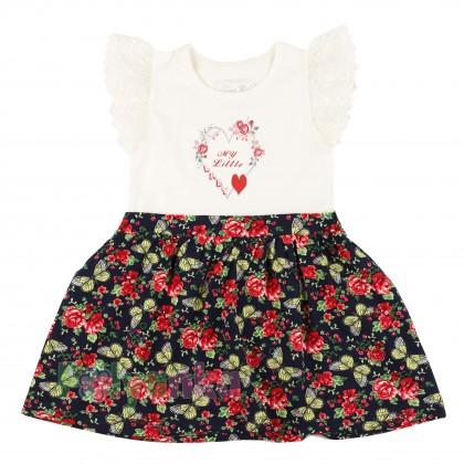 Breeze girls & boys Сарафан для девочки белый с юбкой в мелкие цветы - Картинка 1