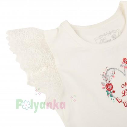 Breeze girls & boys Сарафан для девочки белый с юбкой в мелкие цветы - Картинка 2