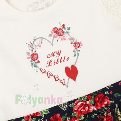 Breeze girls & boys Сарафан для девочки белый с юбкой в мелкие цветы - Картинка 3
