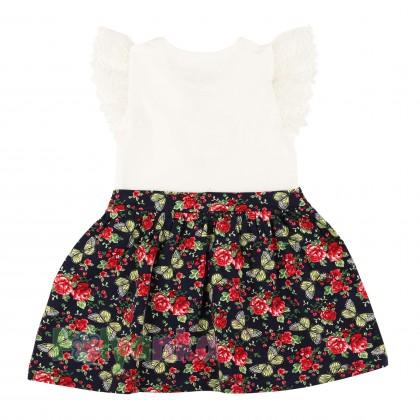Breeze girls & boys Сарафан для девочки белый с юбкой в мелкие цветы - Картинка 4