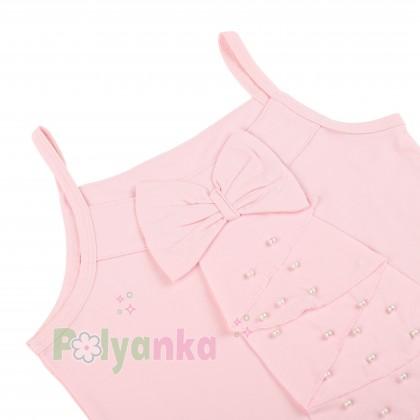 Breeze girls & boys Майка для девочки светло-розовая с бусинами - Картинка 2