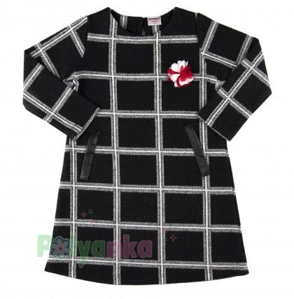 Wanex Платье с длинным рукавом для девочки теплое в клетку чёрно-белое - Картинка 1
