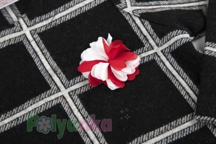 Wanex Платье с длинным рукавом для девочки теплое в клетку чёрно-белое - Картинка 3