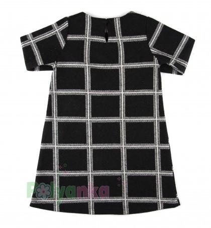 Wanex Платье с длинным рукавом для девочки теплое в клетку чёрно-белое - Картинка 5