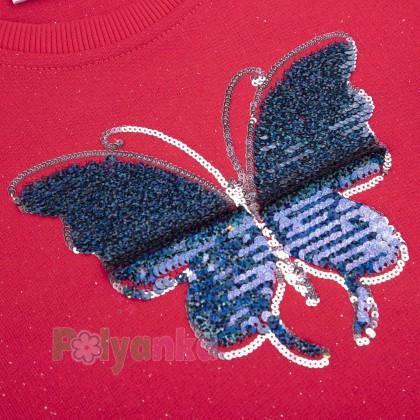 Wanex Свитшот для девочки малиновый с бабочкой и пайетками-перевёртышами - Картинка 5
