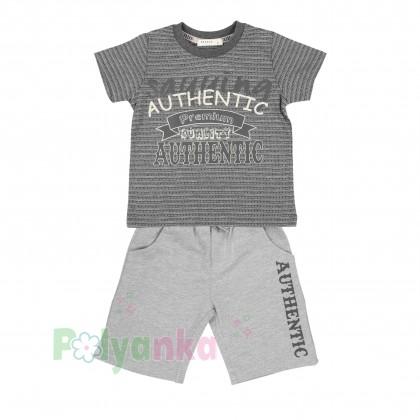Breeze girls & boys Комплект для мальчика серый шорты с карманами и футболка - Картинка 1