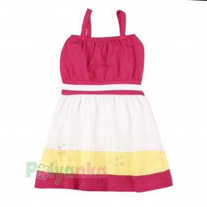 Wanex Сарафан для девочки с якорем в полоску белый с розовым - Картинка 2