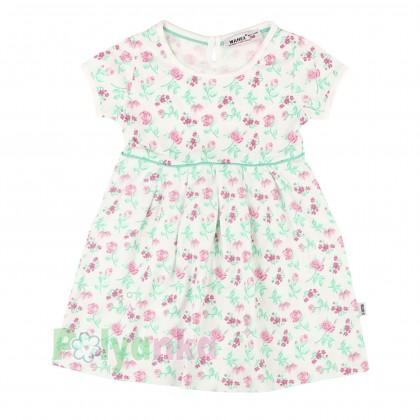Wanex Платье для девочки белое с розовыми цветами - Картинка 1