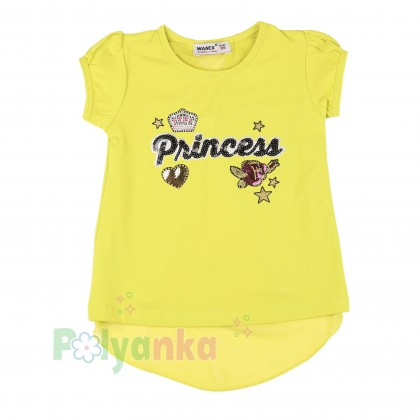 """Wanex Футболка для девочки лимонная """"Princess"""" с бантиком на спинке - Картинка 1"""