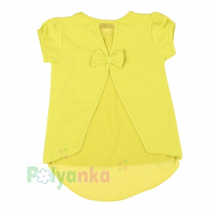 """Wanex Футболка для девочки лимонная """"Princess"""" с бантиком на спинке - Картинка 2"""