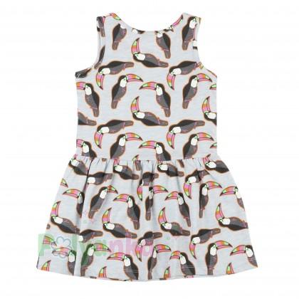 Wanex Сарафан для девочки голубой с птицами какаду - Картинка 2