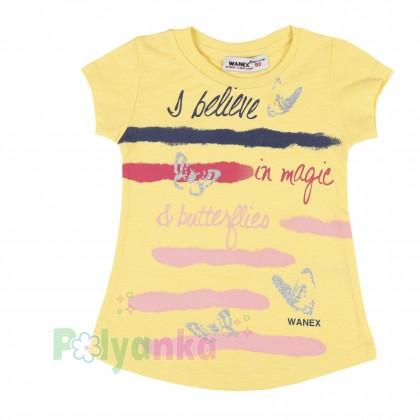 Wanex Футболка для девочки с бабочками жёлтая - Картинка 1