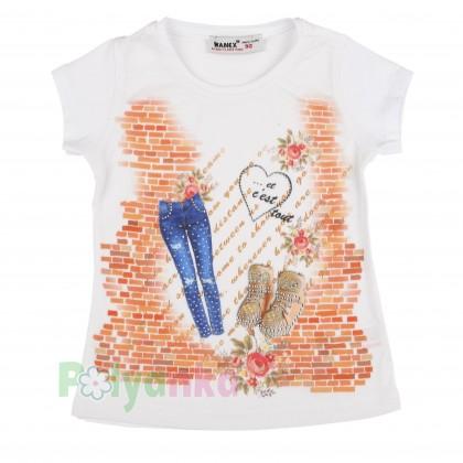 Wanex Футболка для девочки белая с джинсами и ботинками - Картинка 1