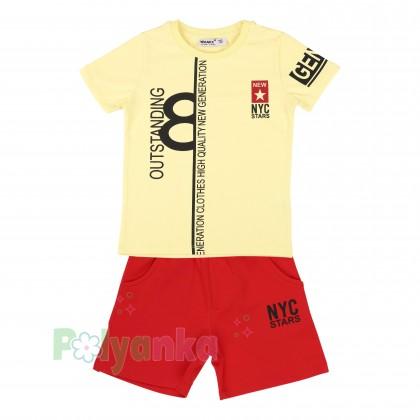 Wanex Комплект для мальчика желтая футболка и красные шорты - Картинка 5