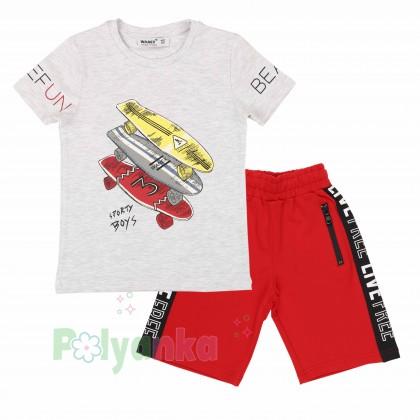 Wanex Комплект для мальчика серая футболка со скейтом и красные шорты - Картинка 1