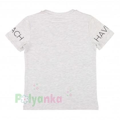 Wanex Комплект для мальчика серая футболка со скейтом и красные шорты - Картинка 3
