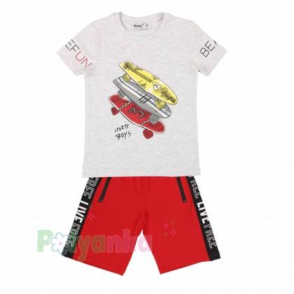 Wanex Комплект для мальчика серая футболка со скейтом и красные шорты - Картинка 6