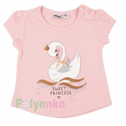 Wanex Футболка детская розовая с белым лебедем - Картинка 1