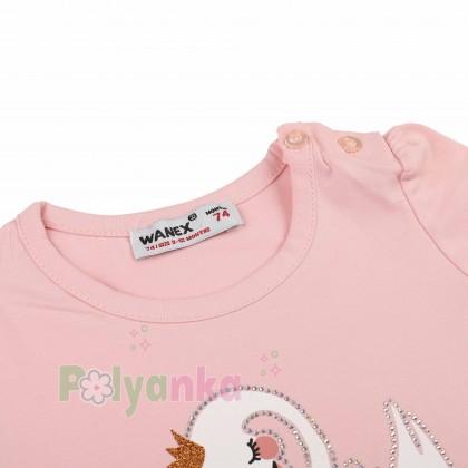 Wanex Футболка детская розовая с белым лебедем - Картинка 2