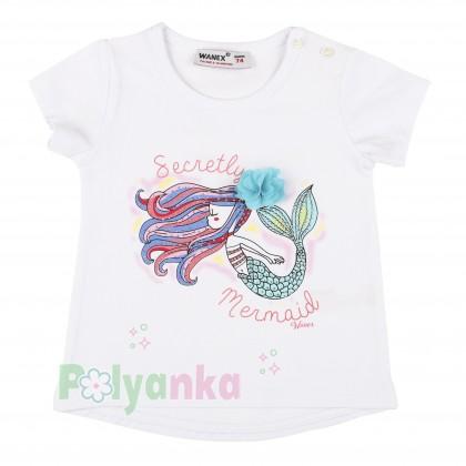 Wanex Футболка детская белая с русалкой - Картинка 1