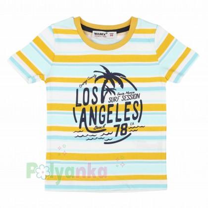 """Wanex Футболка для мальчика """"Los Angeles Beach"""" разноцветная в полоску  - Картинка 1"""