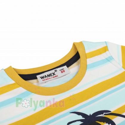 """Wanex Футболка для мальчика """"Los Angeles Beach"""" разноцветная в полоску  - Картинка 2"""