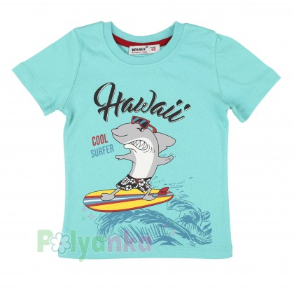 Wanex Футболка для мальчика голубая с акулой - Картинка 1